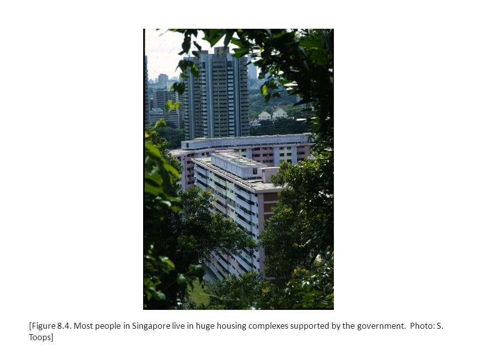 [Figure 8.4. Most people in Singapore live in huge housing complexes supported by the government.